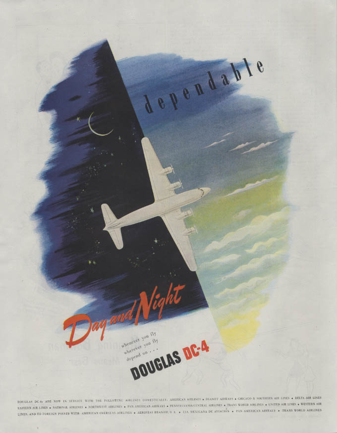 Dependable Day and Night Douglas DC-4 ad 1946 Collier's