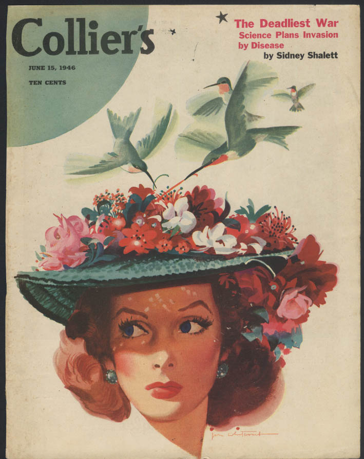 COLLIER'S COVER ONLY 6/15/1946 Hummigirds on pretty girl hat Jon Whitcomb