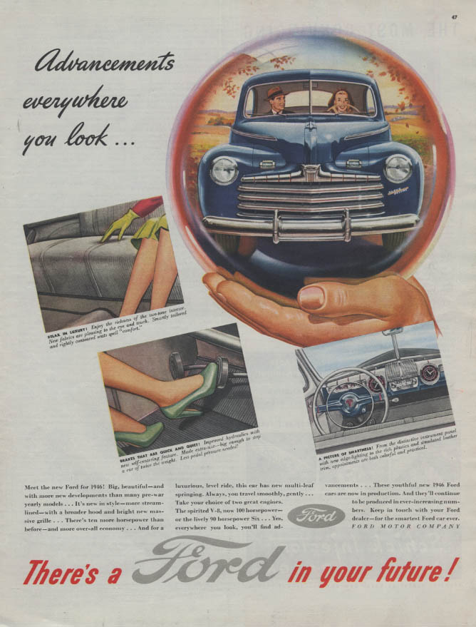 Advancements everywhere you look There's a  Ford in Your Future ad 1946 C
