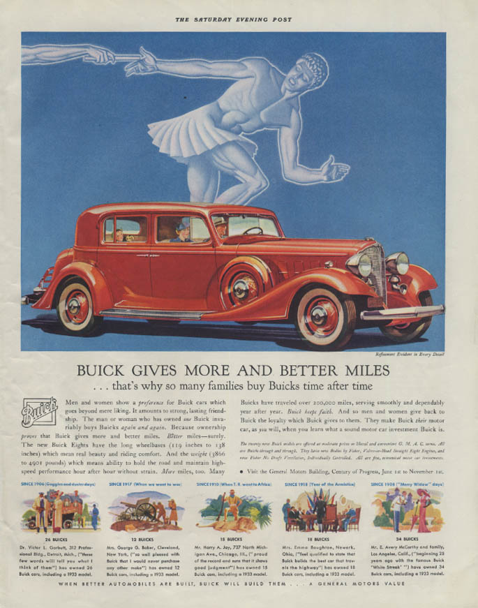 Buick gives more & better miles ad 1933 four-door sedan P