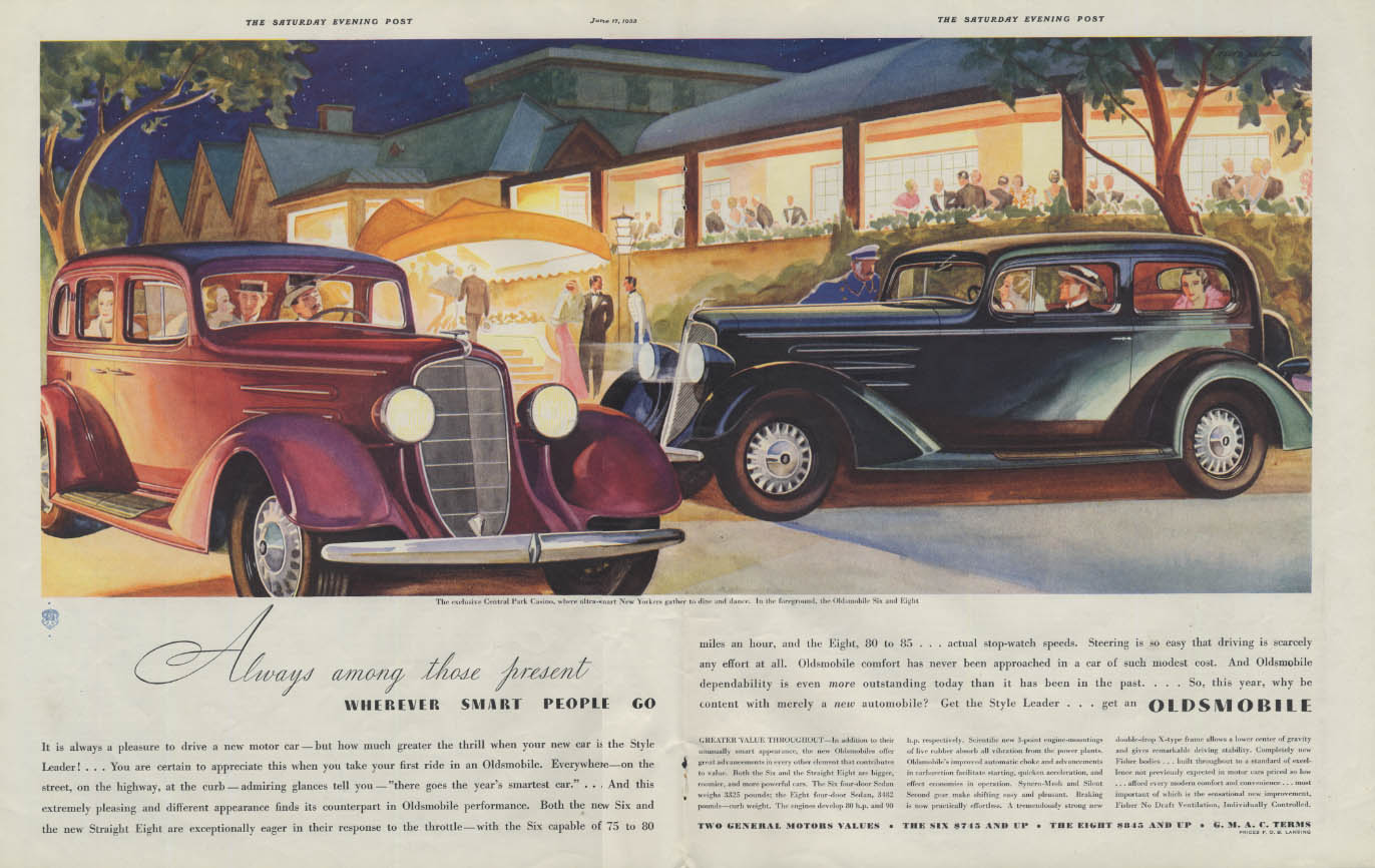 Always among those present wherever smart people go Oldsmobile ad 1933 P