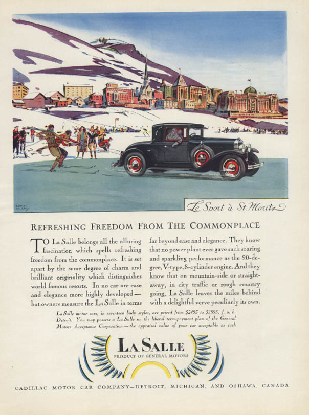 Refreshing Freedom from the Commonplace La Salle at St Moritz ad 1928 H&G