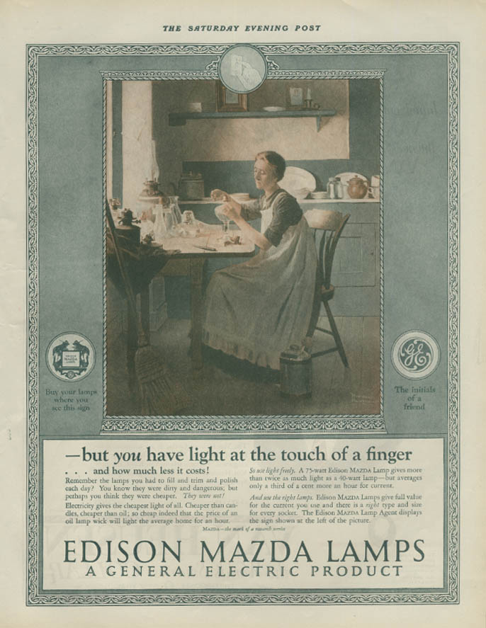 Light at the touch of a finger Edison Mazda Lamps ad 1925 Norman Rockwell