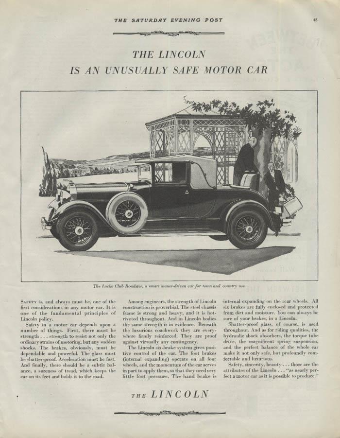 An unusually safe motor car Lincoln Locke Club Roadster ad 1929 1930