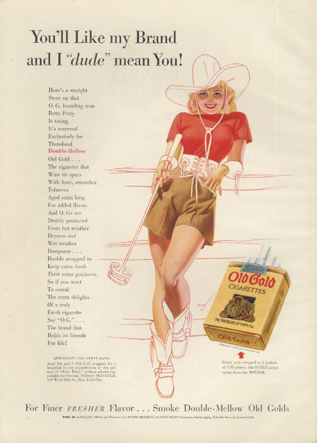 You'll like my brand & I dude mean you! Old Gold Cigarettes ad 1939 Petty girl