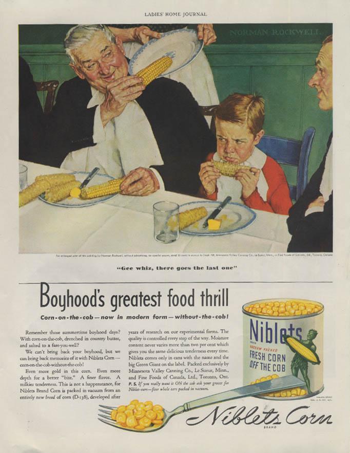 Boyhood's greatest food thrill Niblets Corn ad 1939 Norman Rockwell
