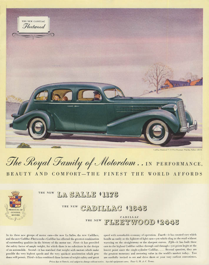 Royal Family of Motordom Cadillac Fleetwood V-12 Touring Sedan ad 1936 F