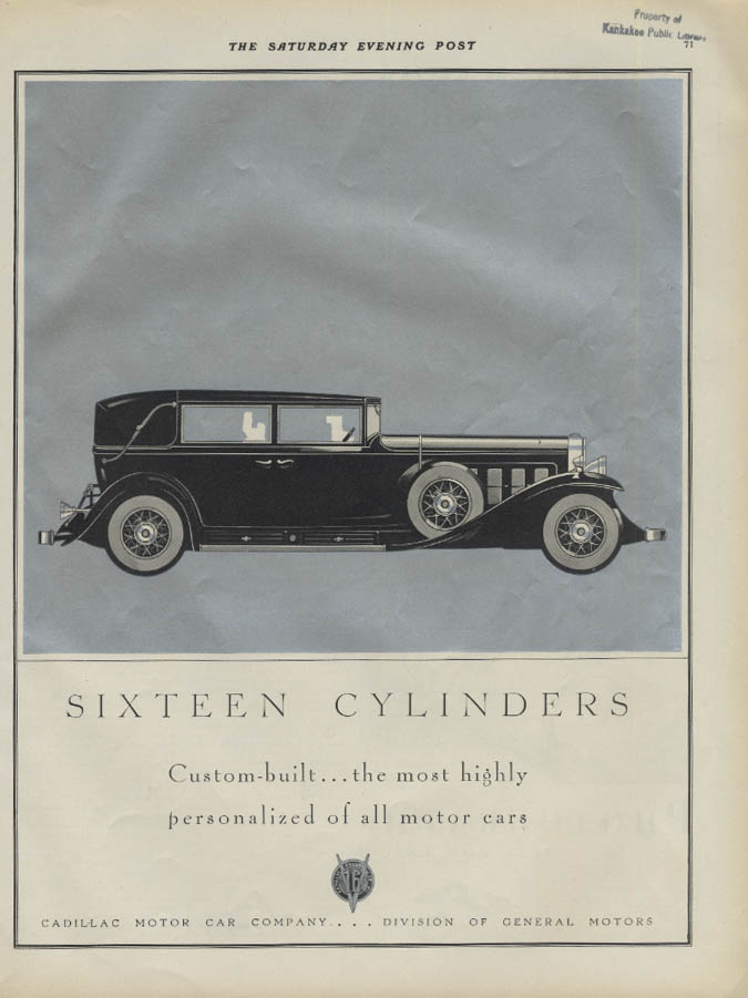 Sixteen Cylinders Custom-built most personalized of motor cars Cadillac ad 1930