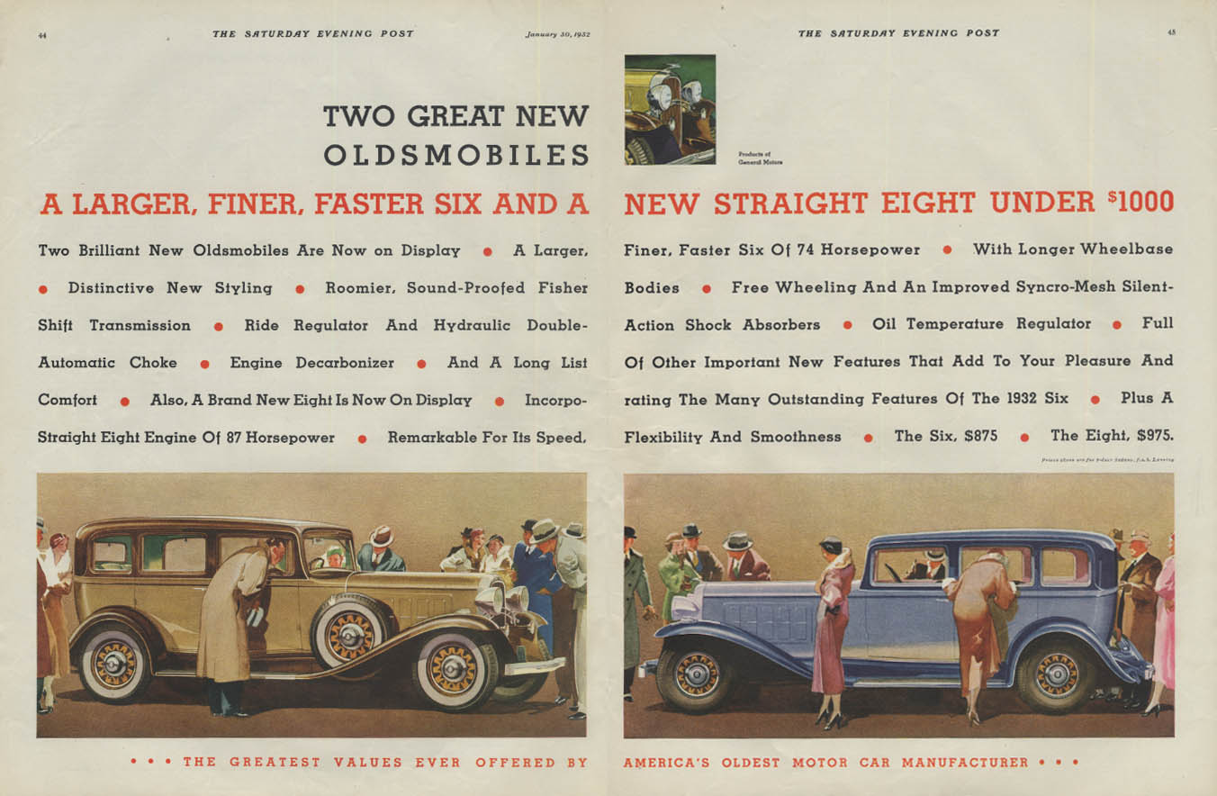 Two Great New Automobiles Oldsmobile Six & Eight ad 1932 P