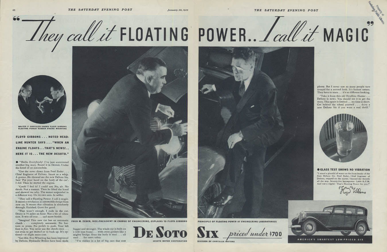 They call it Floating Power I call it Magic De Soto Six ad 1932 Floyd Gibbons