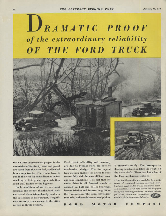 Dramatic Proof of extraordinary reliability Ford Truck ad 1932