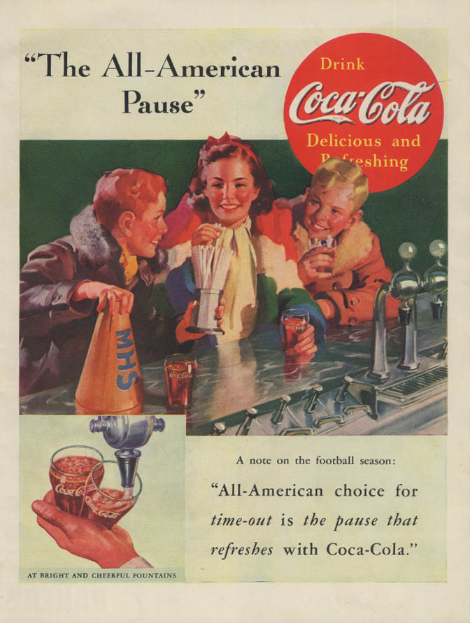 The All-American Pause Coca-Cola ad 1937 Sundblom kids at soda fountain L