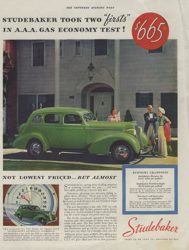 Two Firsts in A A A Economy Test Studebaker Dictator Six ad 1936 P