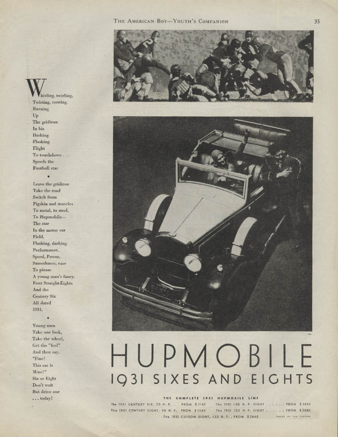 Whirling twirling twisting up the gridiron Hupmobile Rumble Seat Coupe ad 1931