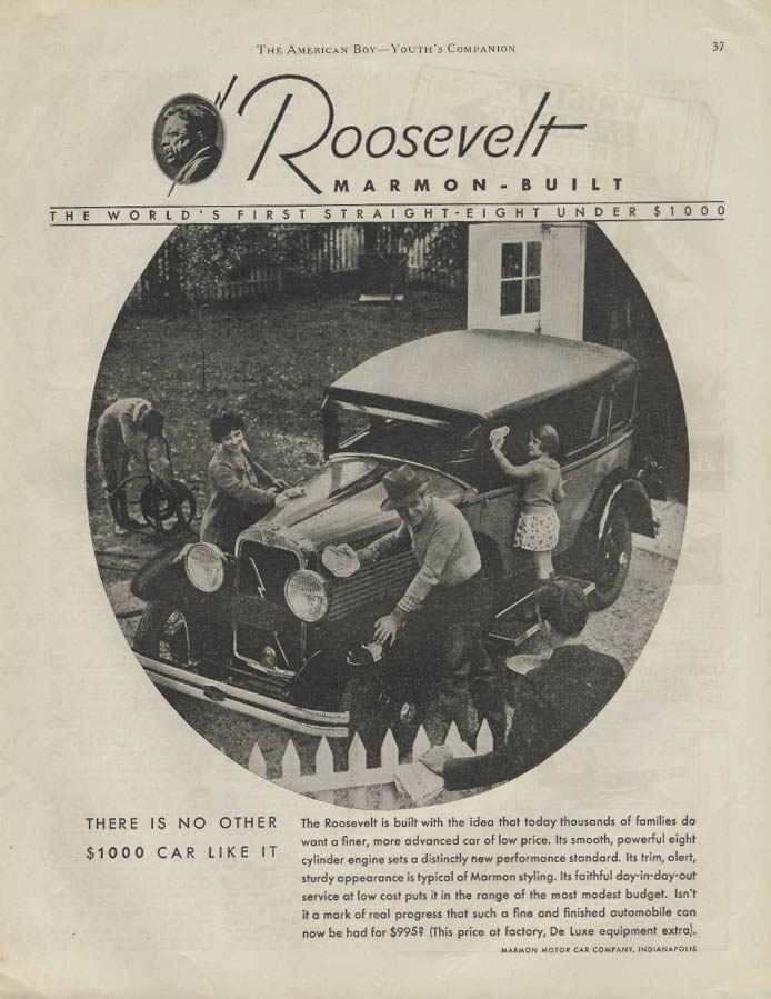 There is no other $1000 car like it Marmon-Build Roosevelt ad 1930