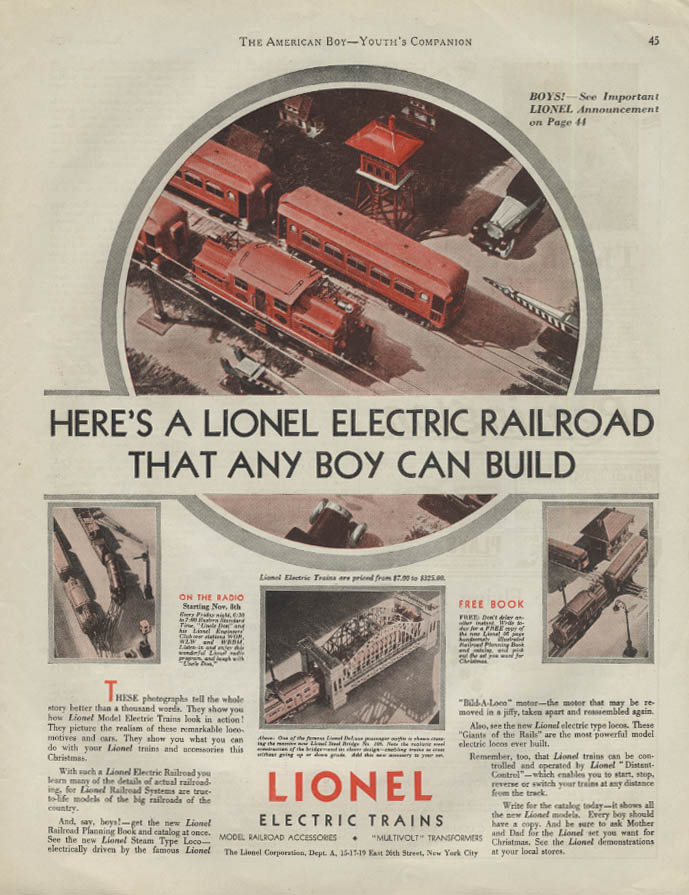 Here's a Lionel Electric Train Railroad that Any Boy Can Build ad 1929 AB