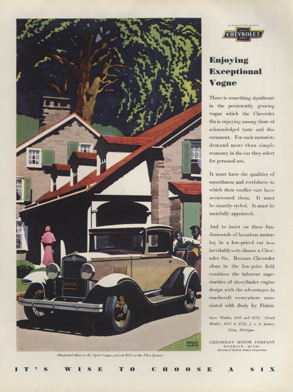 Enjoying Exceptional Vogue - Chevrolet Sport Coupe ad 1930 H&G