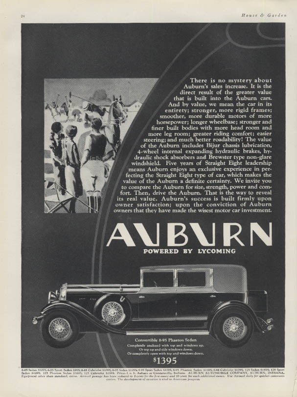 There is no mystery about the sales increase Auburn Convertible Sedan ad 1930 H&