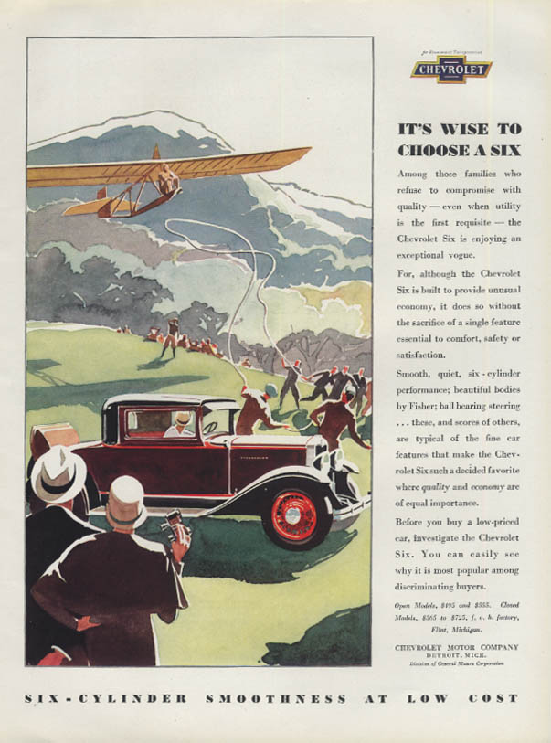 It's Wise to Choose a Six - Chevrolet Rumble Seat Coupe ad 1930 glider H&G