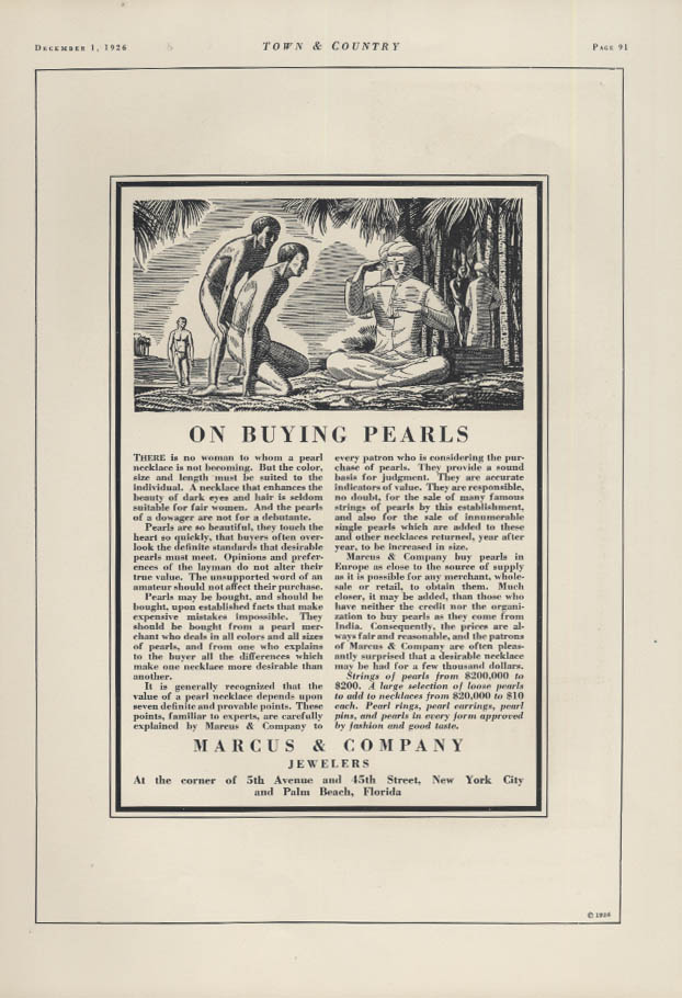 On Buying Pearls Marcus & Company Jewelers ad 1926 Rockwell Kent T&C