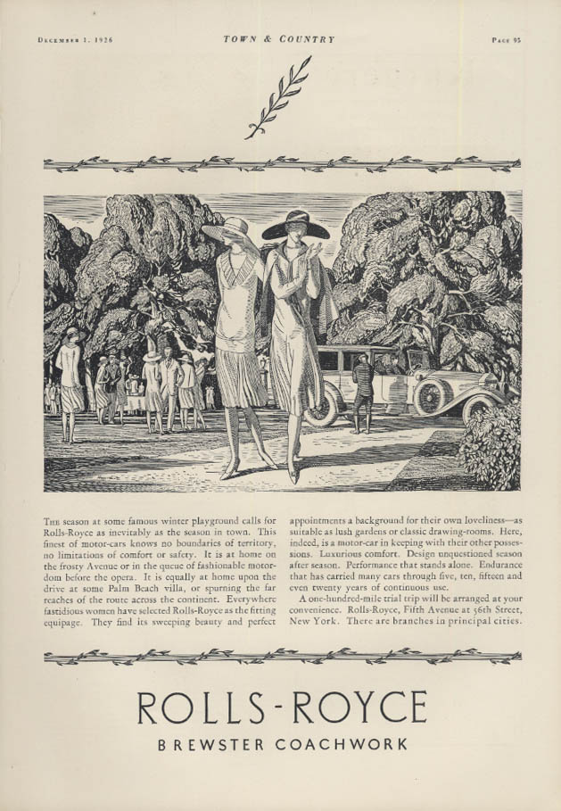 Image for The season at some famous winter playground Rolls-Royce Town Car ad 1926 T&C