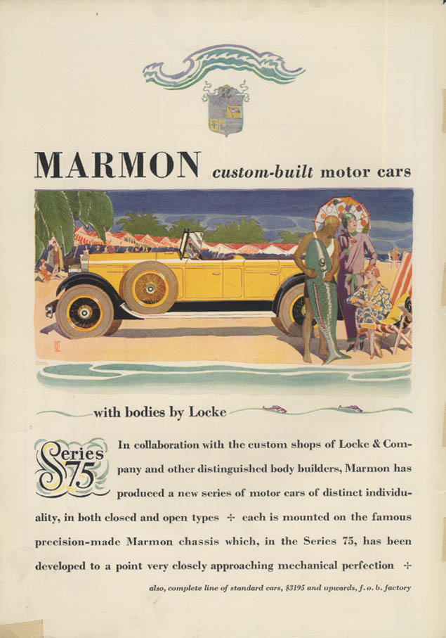 Custom-built Motor Cars with bodies by Locke Marmon Series 75 ad 1927 T&C