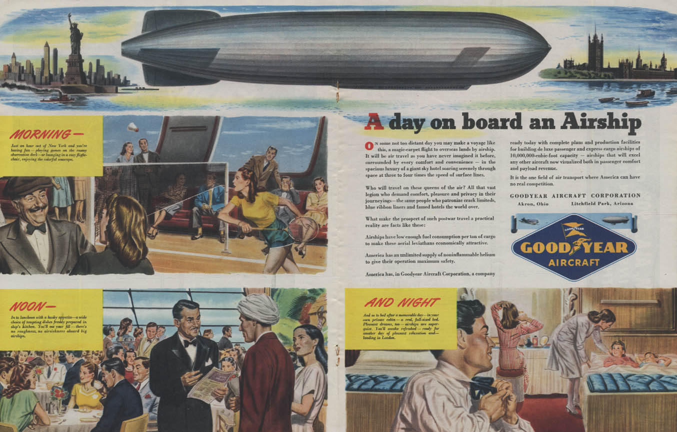 A day on board a Goodyear Airship Dirigible ad 1945 Collier's