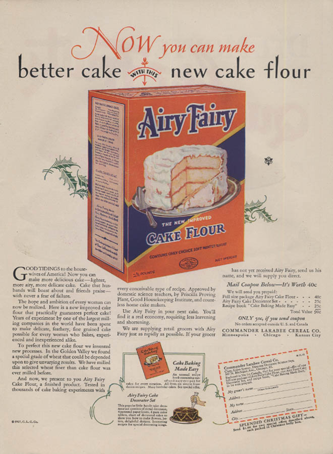 Now you can make a better cake Airy Fairy Cake Flour ad 1927