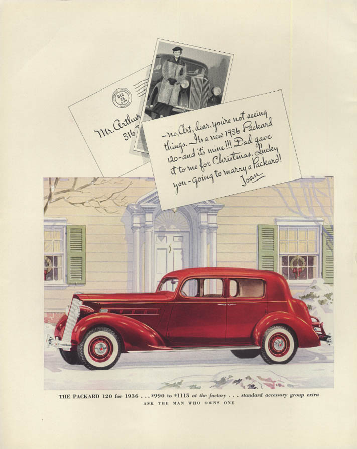 Dad gave it to me for Christmas! Packard 120 Sedan ad 1936 F