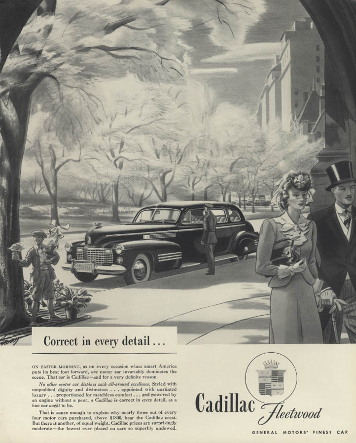 Correct in every detail - Cadillac Fleetwood ad 1941 F