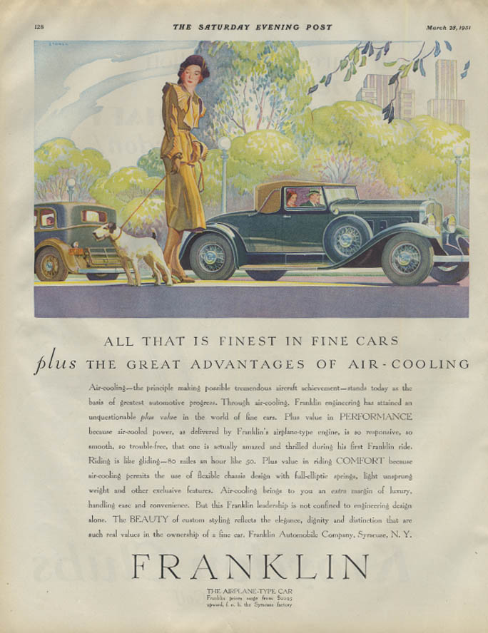All that is finest in fine cars Franklin Landau Coupe ad 1931 fox terrier