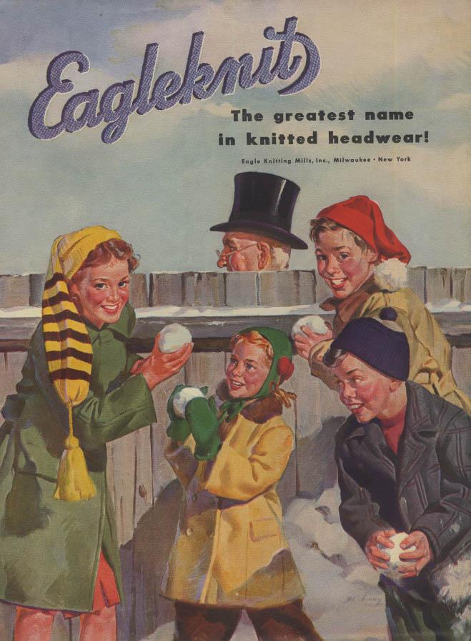 Eagleknit headwear ad 1946 kids plot snowball assault on top hat
