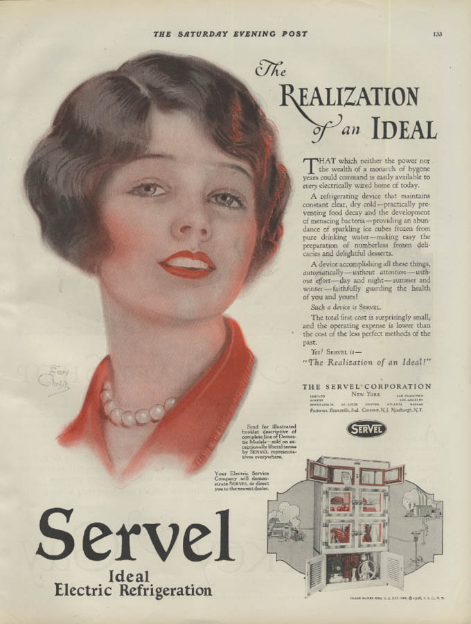 Realization of an ideal Servel Refrigerator ad 1926 Earl Christy pretty girl