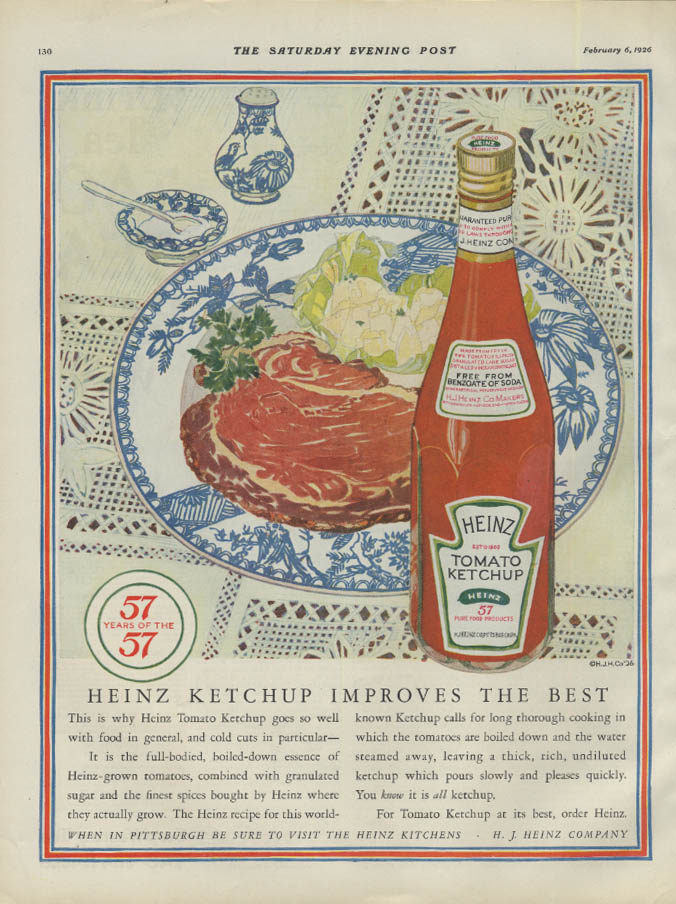 Heinz Ketchup Improves the Best ad 1926 steak dinner P