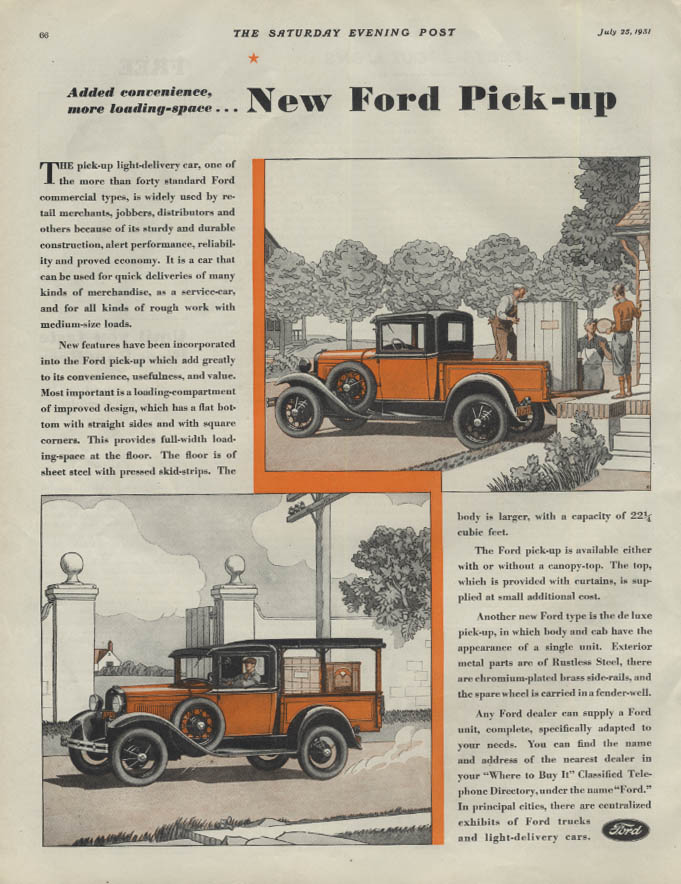 Added convenience more loading-space Ford Model A Pickup ad 1931 P