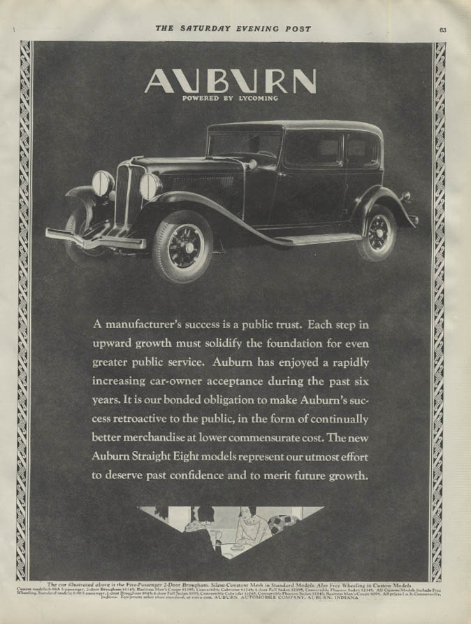A manufacturer's success is a public trust Auburn 2-door Brougham ad 1931 P