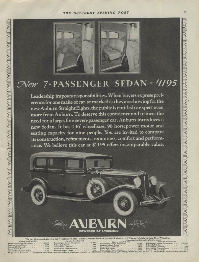 New 7-passenger sedan $1195 Auburn ad 1931 P