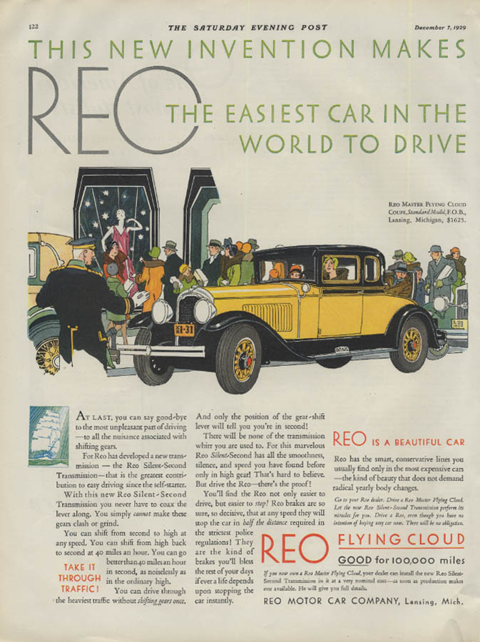 This new invention makes Reo Flying Cloud Coupe Easiest to Drive ad 1930 P