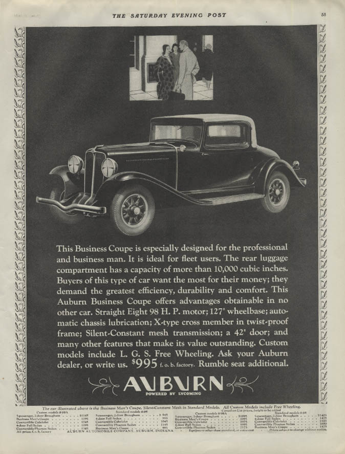 Especially designed for the professional man Auburn Business Coupe ad 1931 P