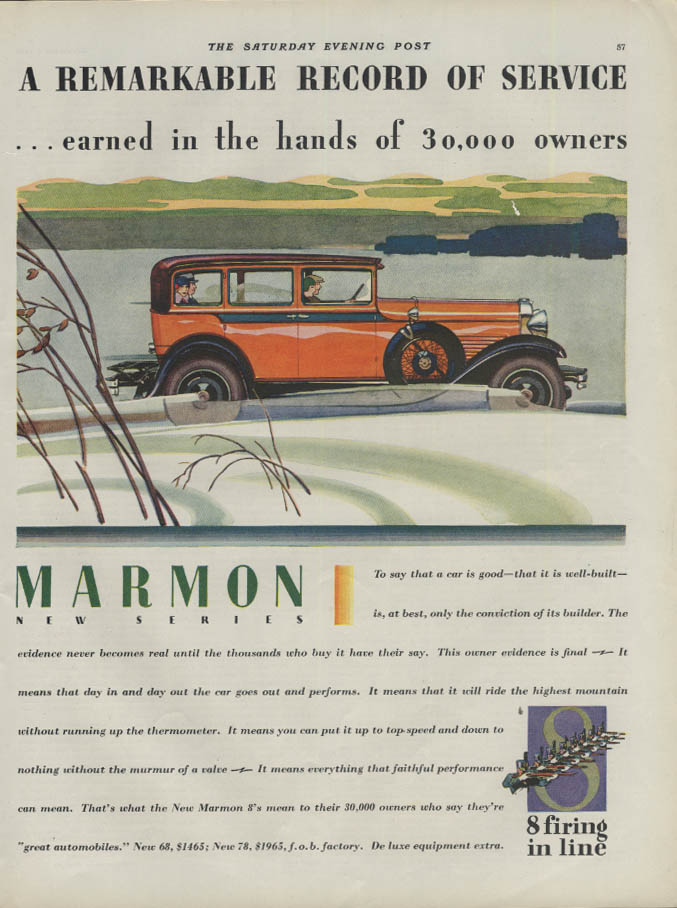 A remarkable record of service Marmon 8 Sedan ad 1928 1929 P