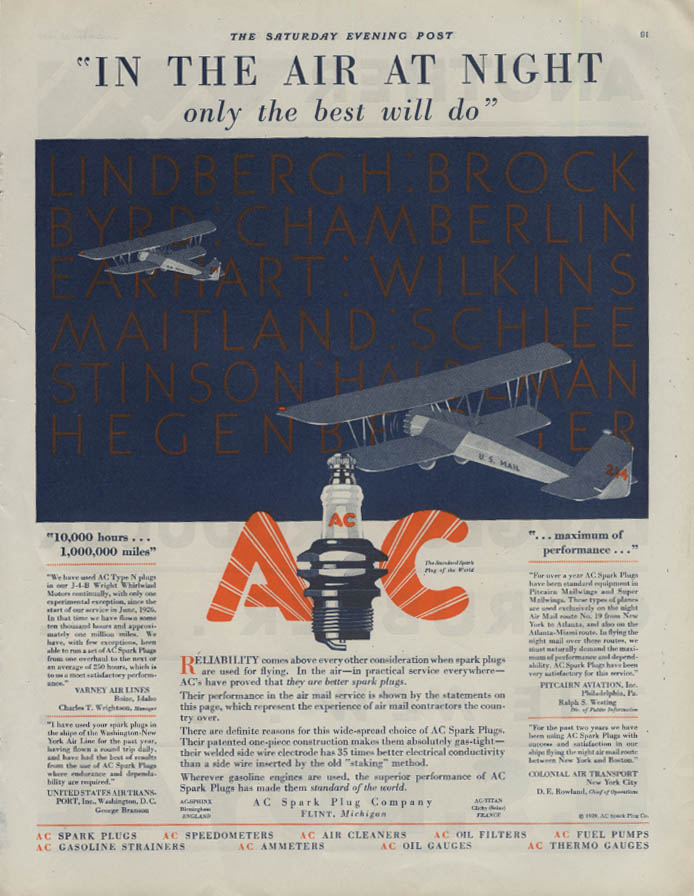 In the Air at Night AC Spark Plugs ad 1929 U S Air Mail Planes Lindbergh