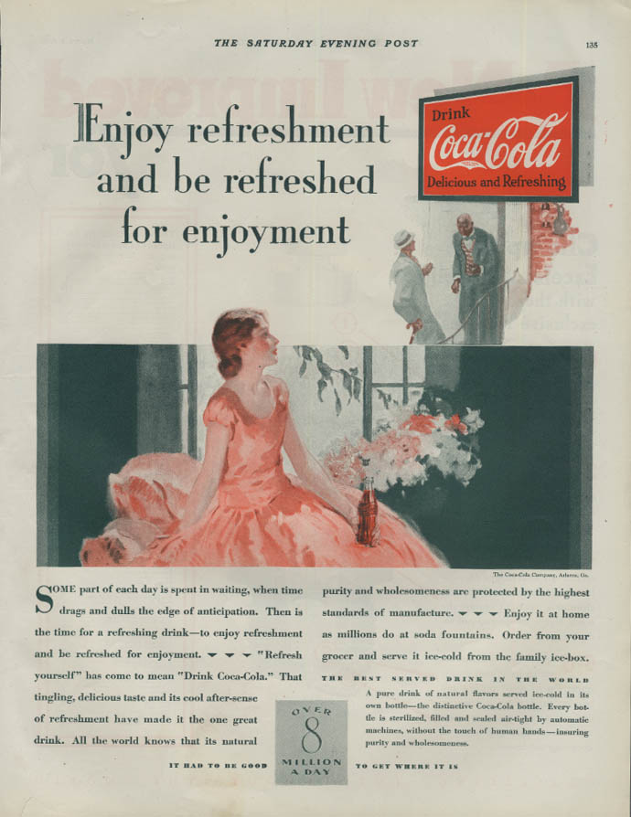 Enjoy refreshment & be refreshed for enjoyment Coca-Cola ad 1929 P