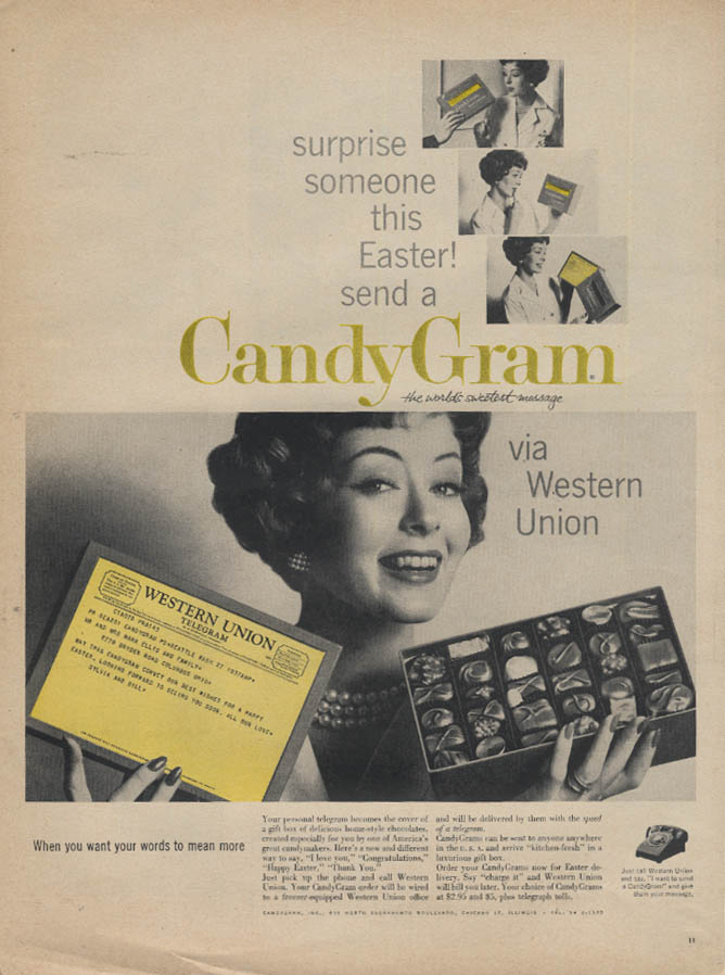 Image for Surprise someone this Easter Western Union CandyGram ad 1959 L
