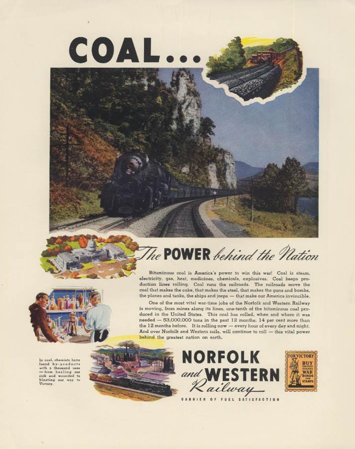Norfolk & Western Railroad Coal Train / Diamond T Army Halftracks ad 1942