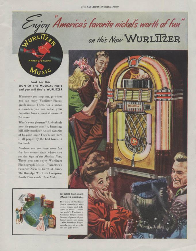 America's favorite nickel's worth of fun Wurlitzer Juke Box ad 1946 P