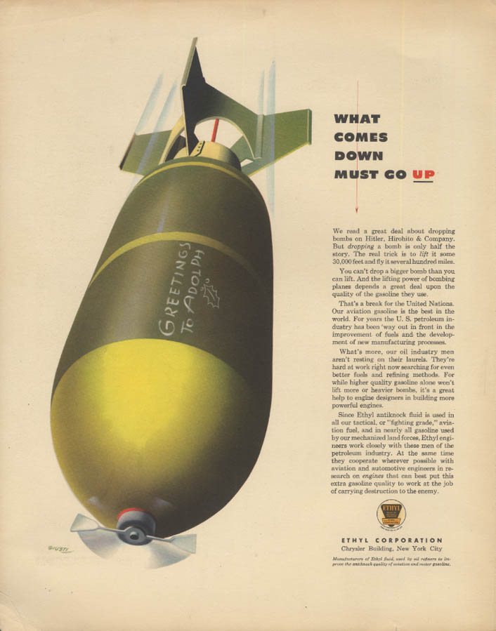 Image for What comes down must go up Bomb for Hitler Ethyl Corp ad 1942 F