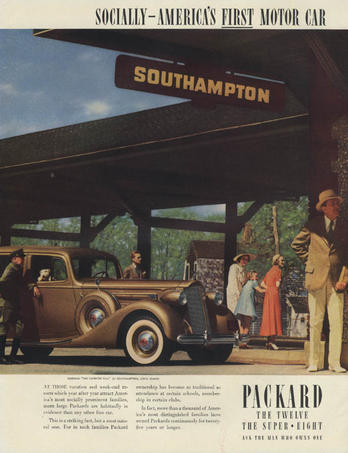 Socially America's First Motor Car Packard ad 1937 Southampton NY train station