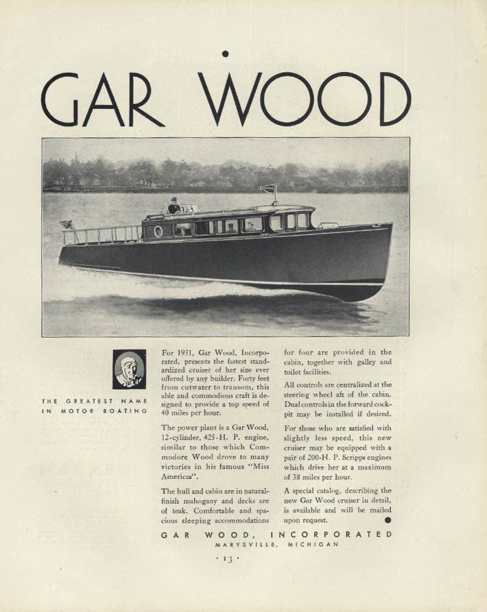 Fastest standardized cruiser for her size Gar Wood 40' speedboat ad 1931 F