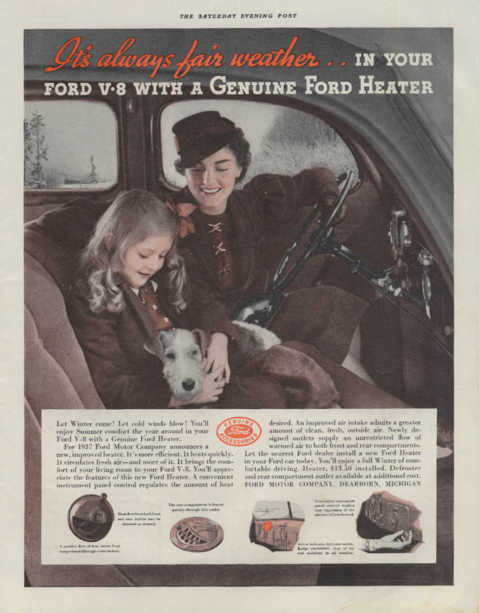 Always fair weather with Ford V-8 Genuine Ford Heater ad 1936 P