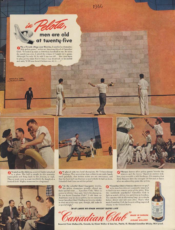 In Pelota men are old at twenty-five Canadian Club Whiskey ad 1948 Jai-Alai L